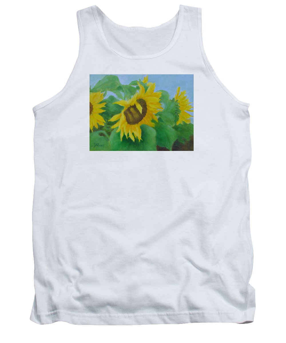Original Sunflowers Painting Tank Top featuring the painting Sunflowers In The Wind Colorful Original Sunflower Art Oil Painting Artist K Joann Russell      by K Joann Russell