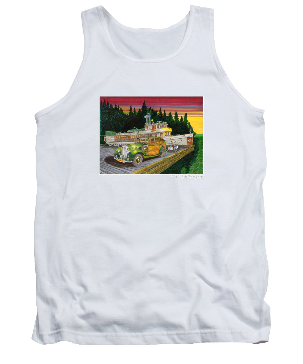 Image Of 1934 Bentley Shooting Brake On The Dock At The Seattle Yacht Club Port Madison Out Station Tank Top featuring the painting Port Madison Sunrise by Jack Pumphrey