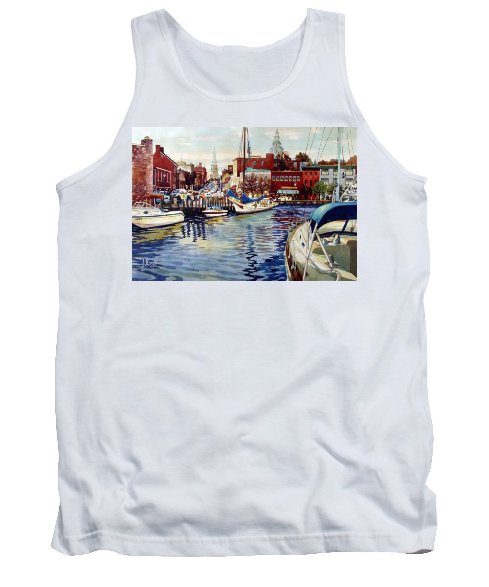 Watercolor Tank Top featuring the painting Sunset On The Harbor by Mick Williams