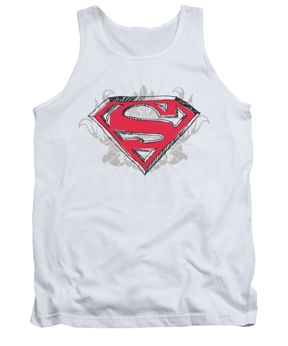 Superman Tank Top featuring the digital art Superman - Hastily Drawn Shield by Brand A