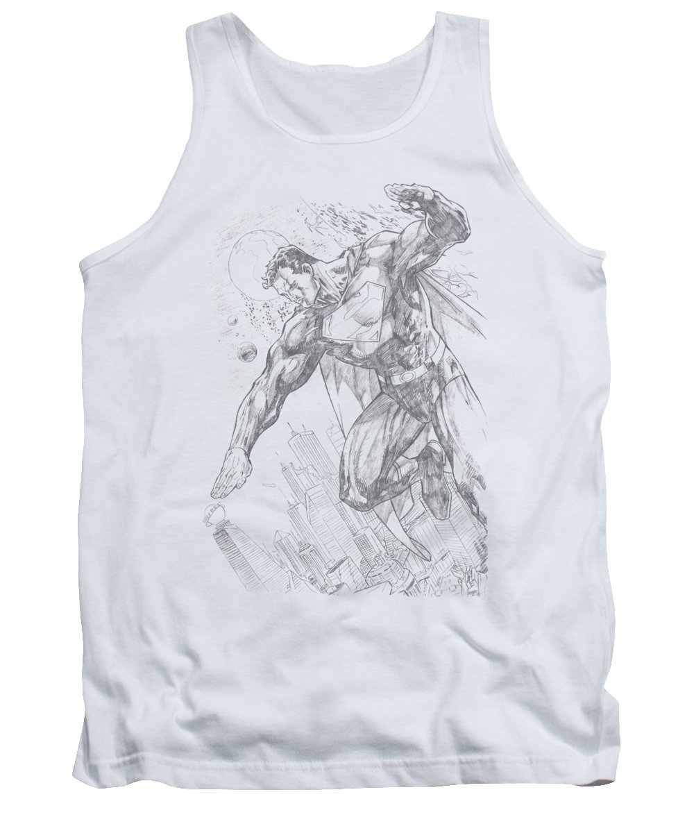 Superman Tank Top featuring the digital art Superman - Pencil City To Space by Brand A