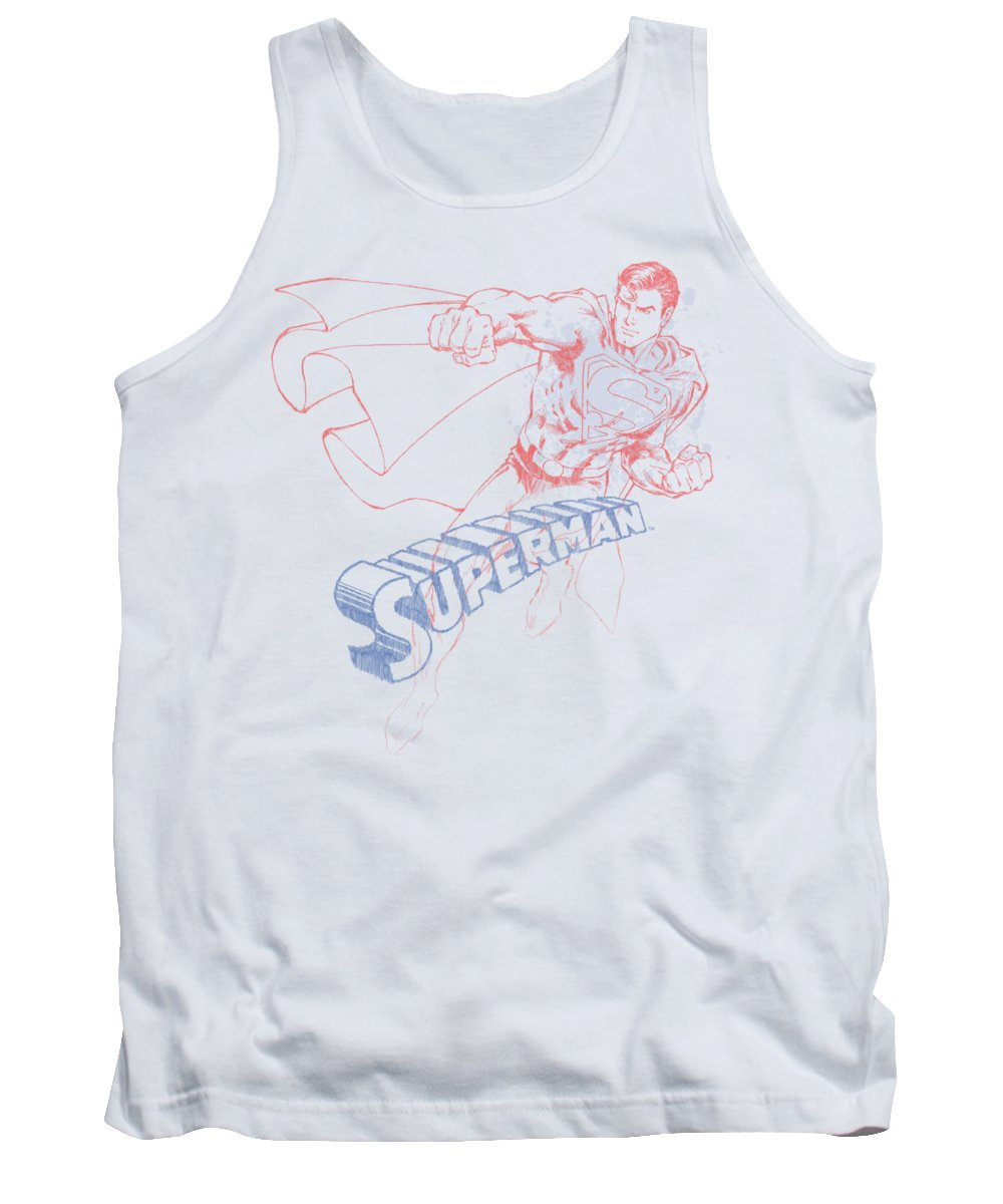 Superman Tank Top featuring the digital art Superman - Sketch by Brand A