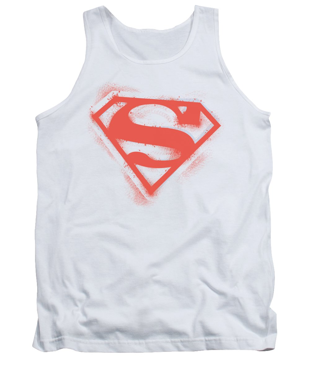Superman Tank Top featuring the digital art Superman - Spray Paint Shield by Brand A