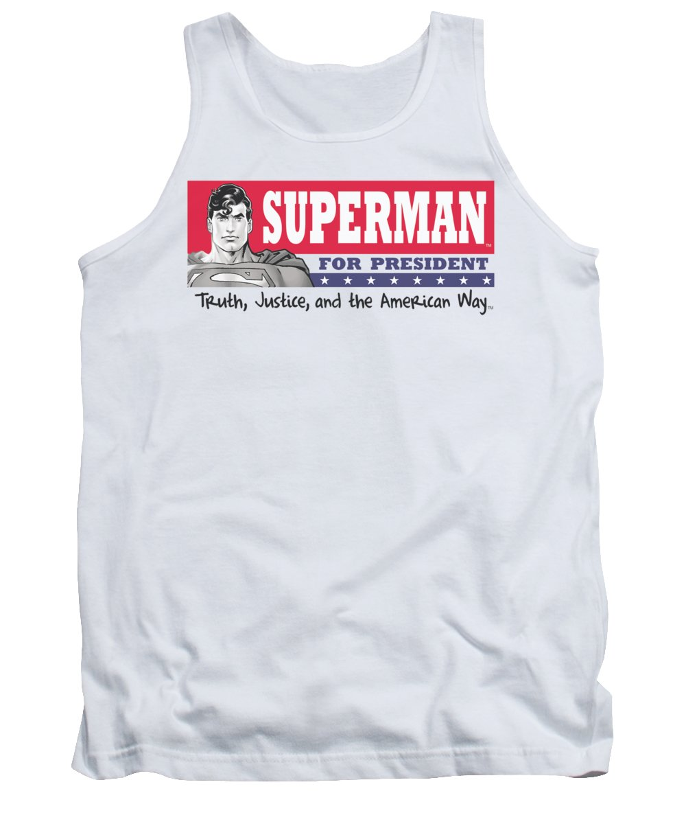 Superman Tank Top featuring the digital art Superman - Superman For President by Brand A