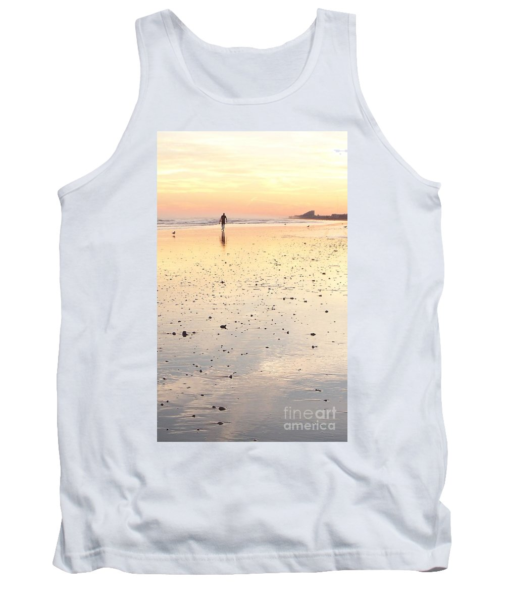 Surfing Tank Top featuring the photograph Surfing Sunset by Eric Schiabor