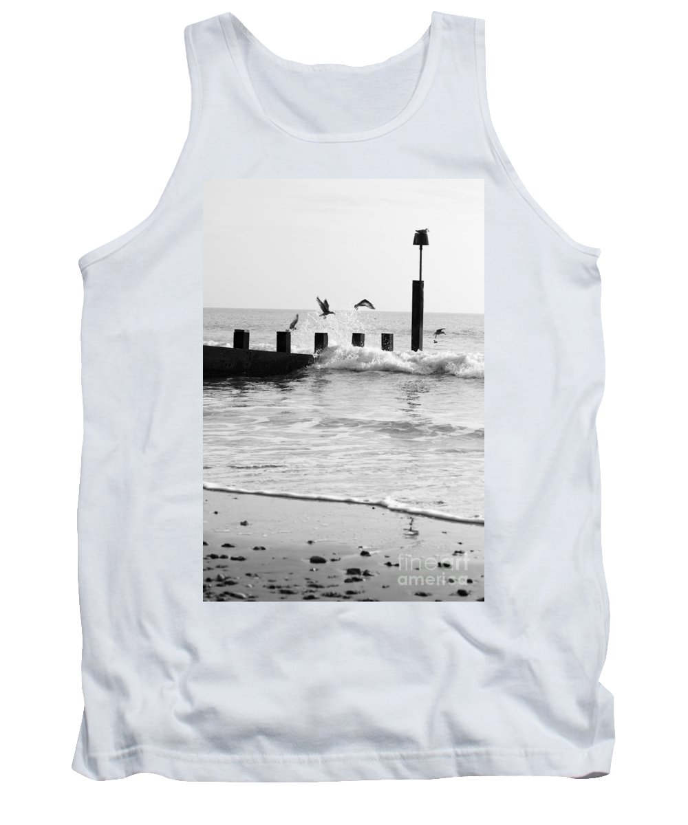 Autumn Tank Top featuring the photograph Surprised Seagulls by Anne Gilbert