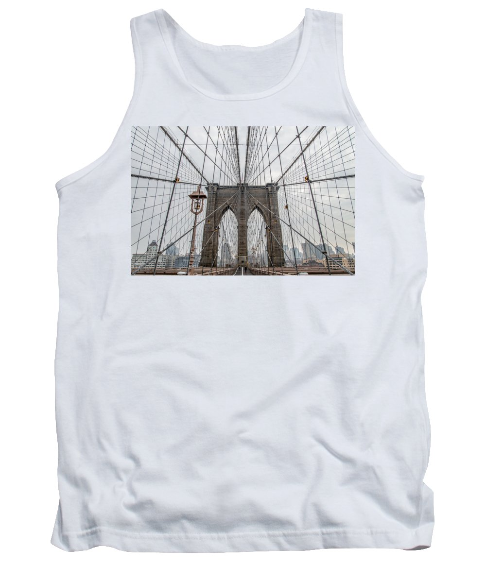Brooklyn Bridge Tank Top featuring the photograph Suspended by Dustin LeFevre