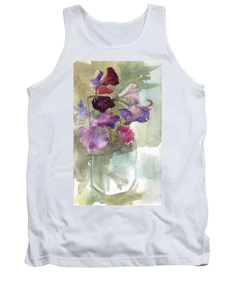 Sweetpeas Tank Top featuring the painting Sweetpeas 3 by David Ladmore