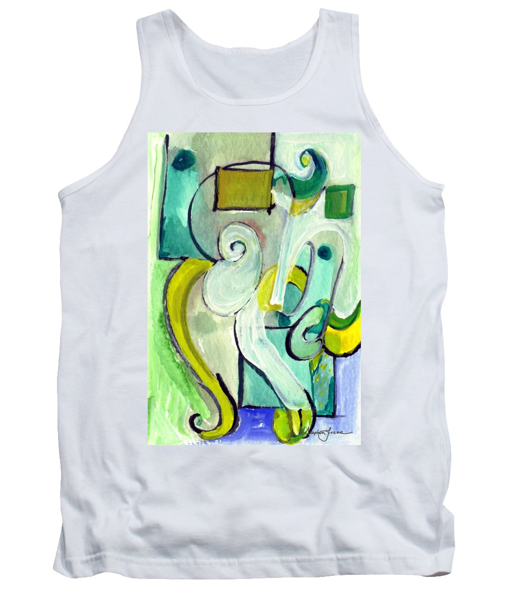 Abstract Art Tank Top featuring the painting Symphony In Green by Stephen Lucas