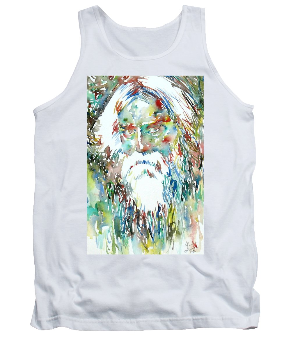 Tagore Tank Top featuring the painting Tagore Watercolor Portrait by Fabrizio Cassetta