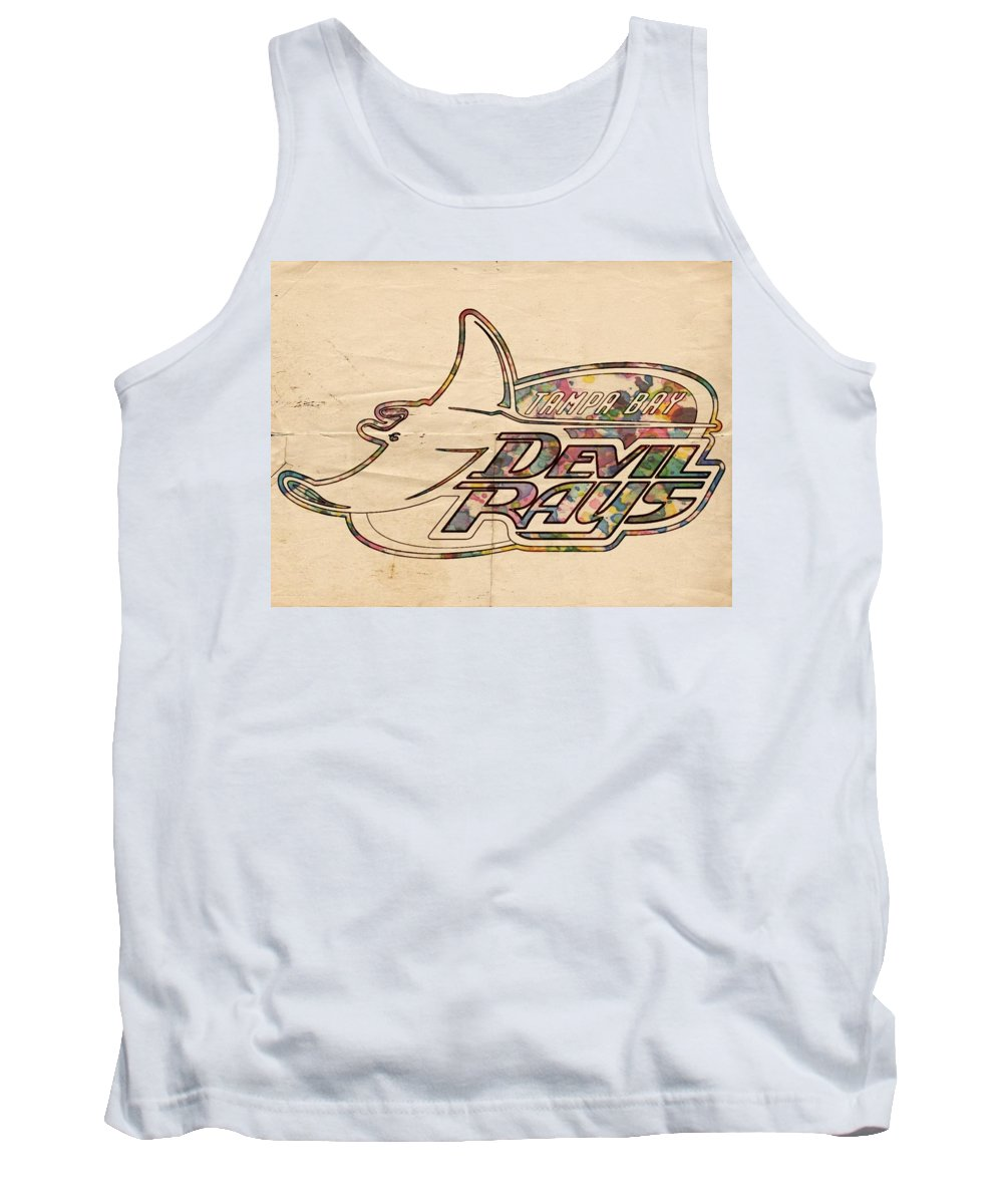 Tampa Bay Rays Tank Top featuring the painting Tampa Bay Rays Vintage Logo by Florian Rodarte