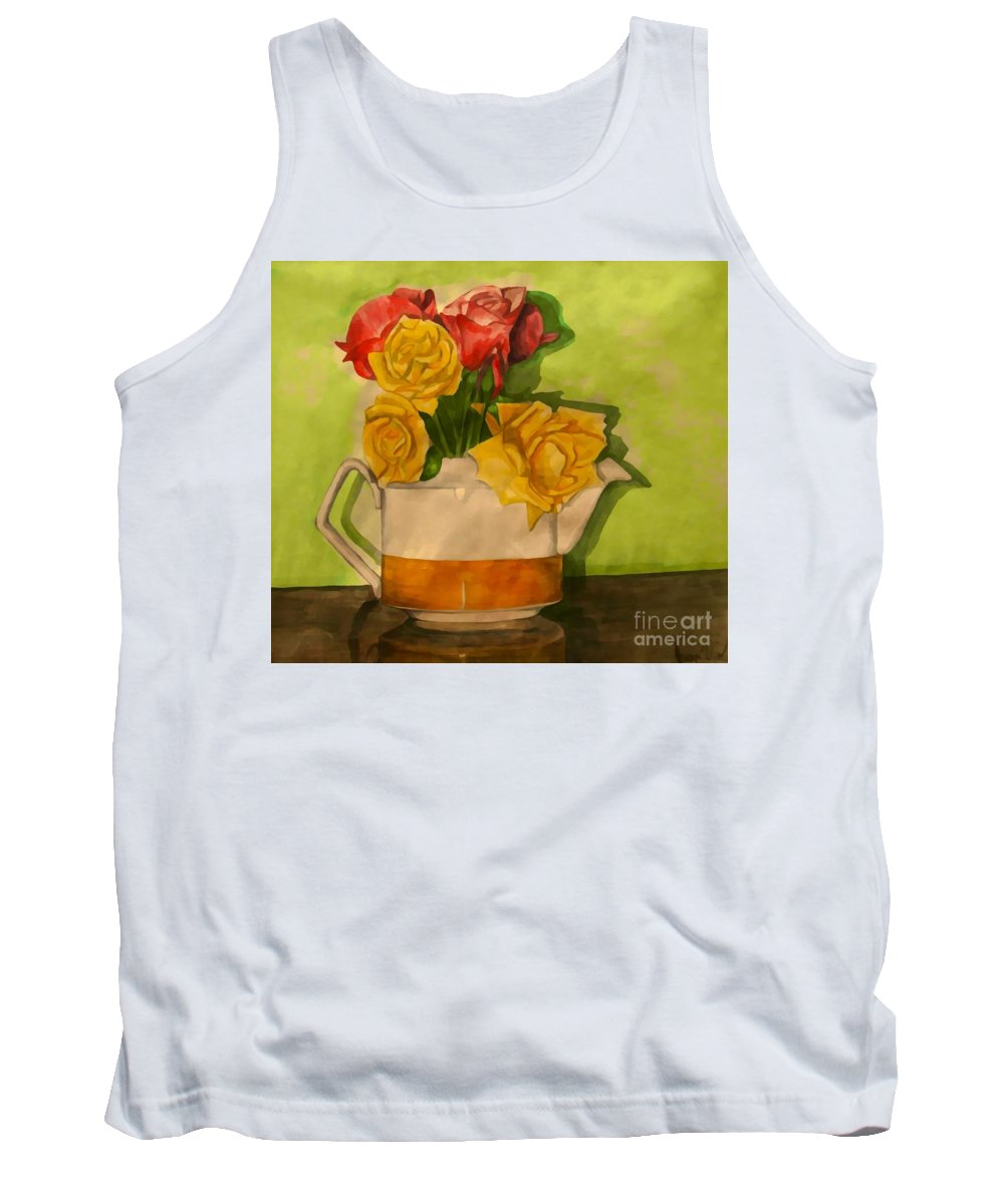 Tea Roses Tank Top featuring the painting Tea Roses by Joan-Violet Stretch