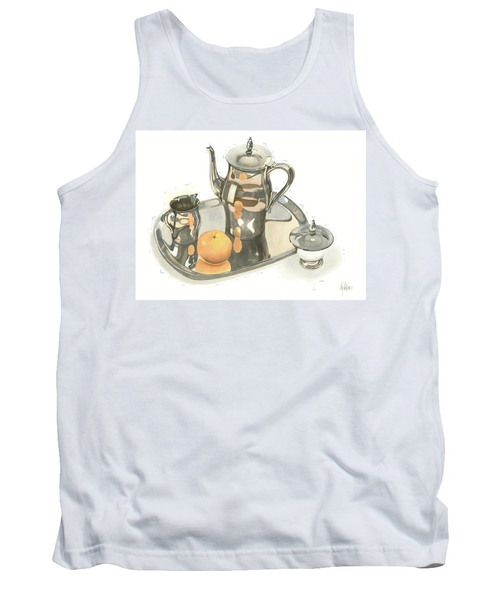 Tea Service With Orange Tank Top featuring the painting Tea Service With Orange by Kip DeVore