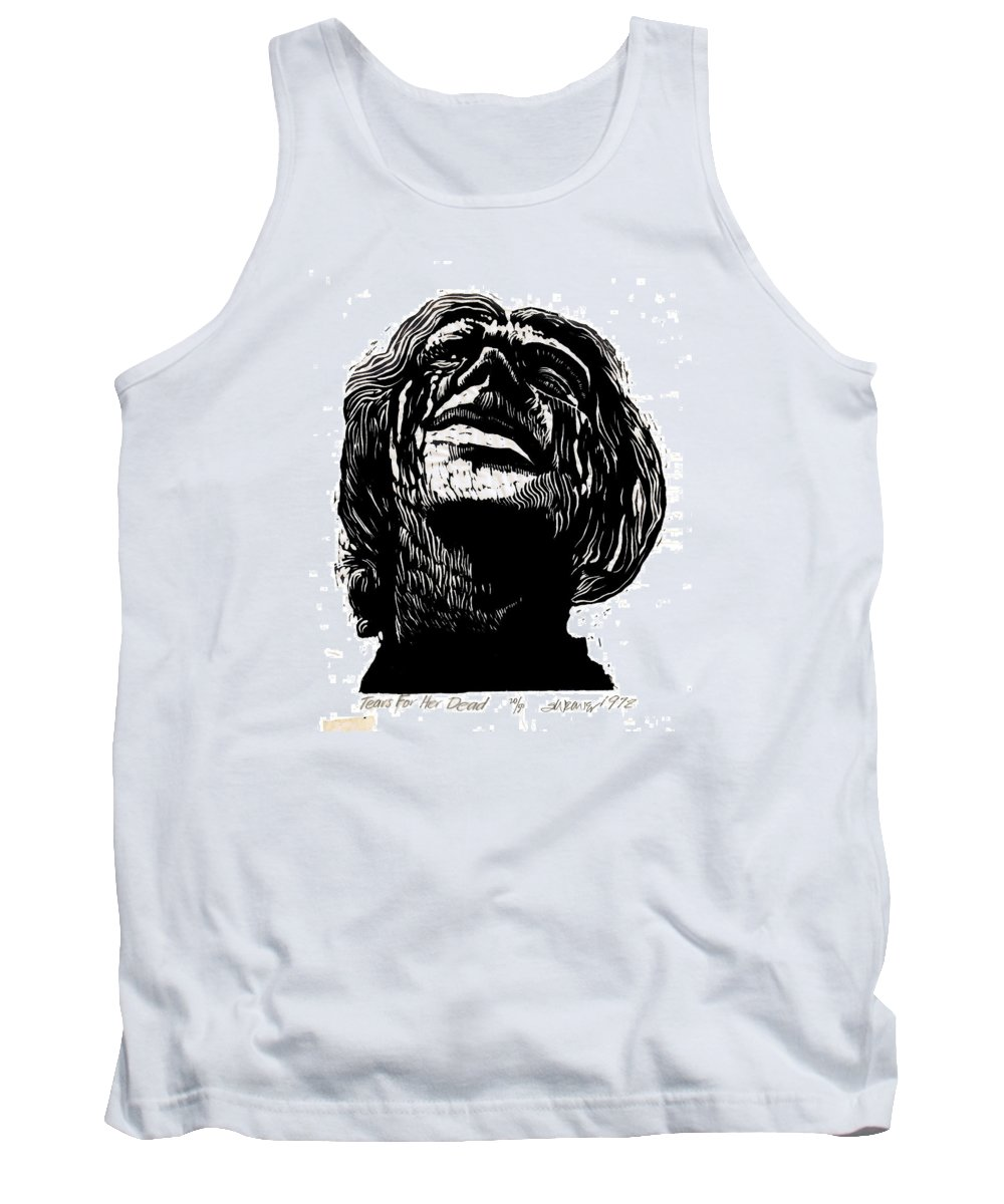 Tears Tank Top featuring the mixed media Tears for Her Dead by Seth Weaver