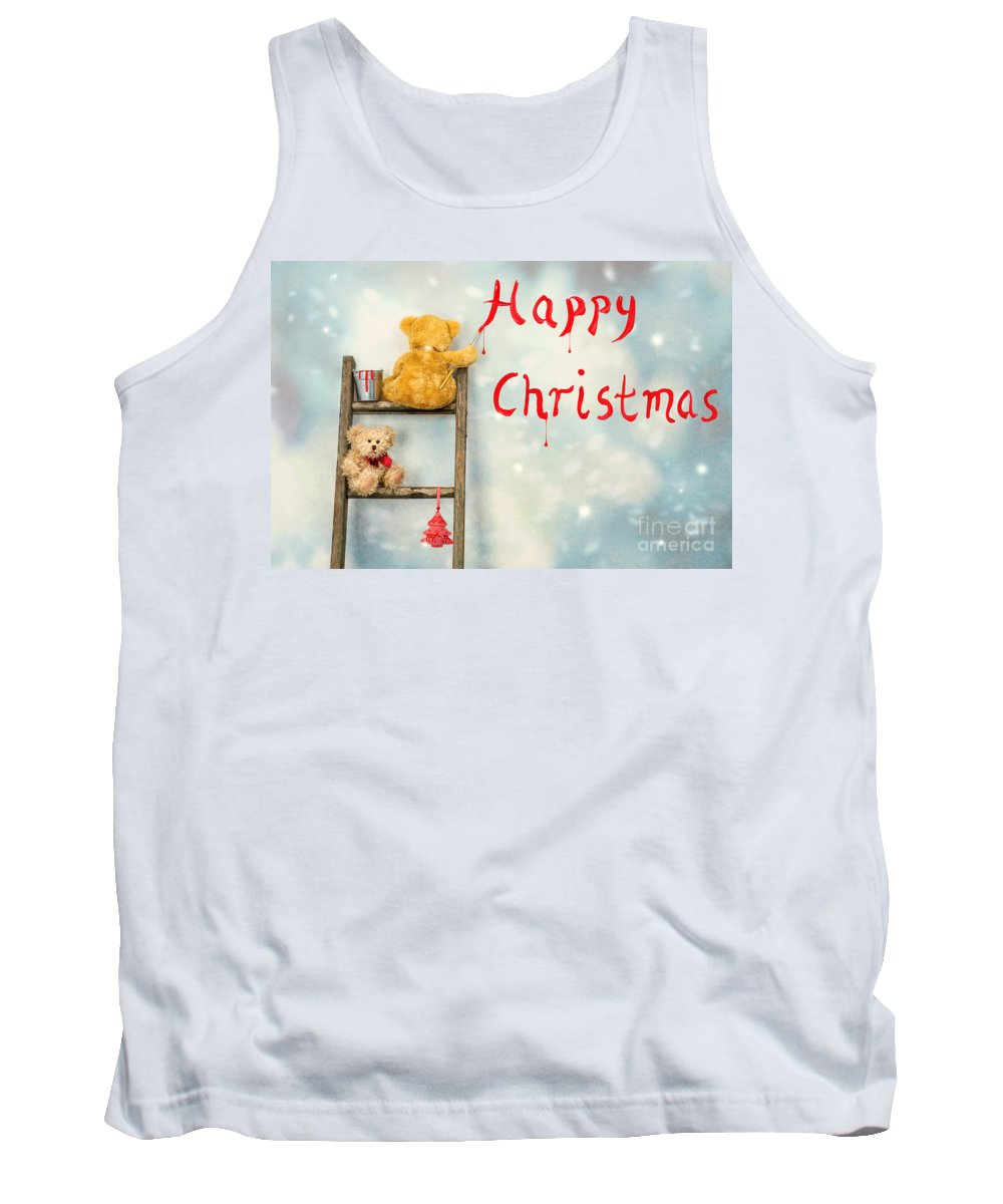 Christmas Tank Top featuring the photograph Teddy Bears At Christmas by Amanda Elwell
