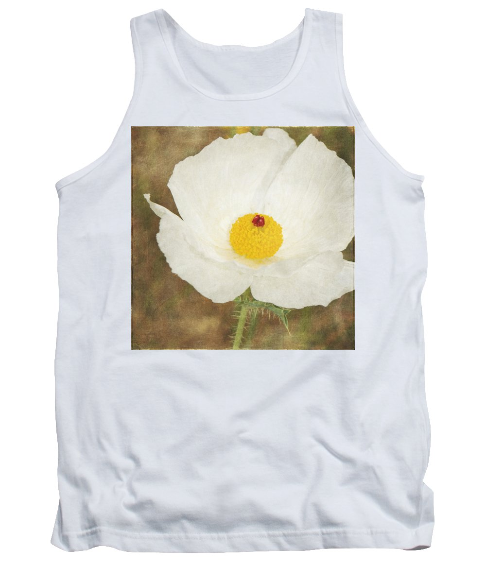 White Poppy Tank Top featuring the photograph Texas Prickly Poppy Wildflower by Renee Hong