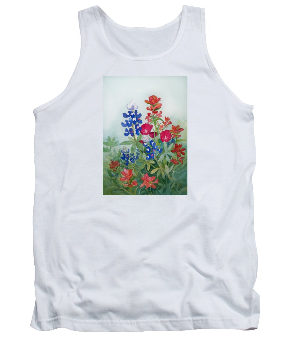 Bluebonnets Tank Top featuring the painting Texas Wildflowers by Sue Kemp