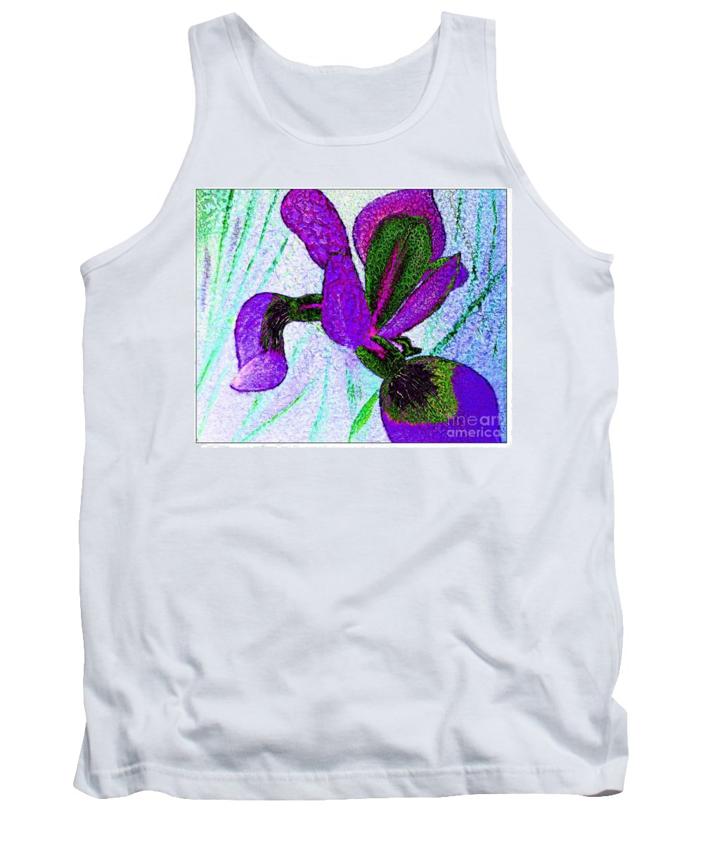 Textured Wild Purple Iris Tank Top featuring the painting Textured Wild Purple Iris by Barbara Griffin