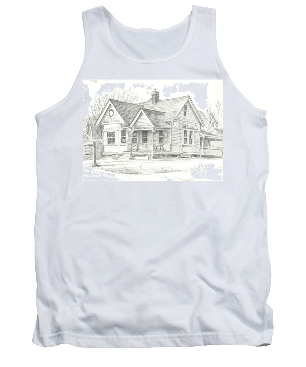 The Antique Shop Tank Top featuring the drawing The Antique Shop by Kip DeVore