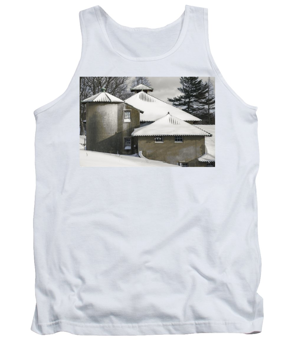 Snowstorm Tank Top featuring the photograph The Barns At Castle Hill After The Snow by David Stone