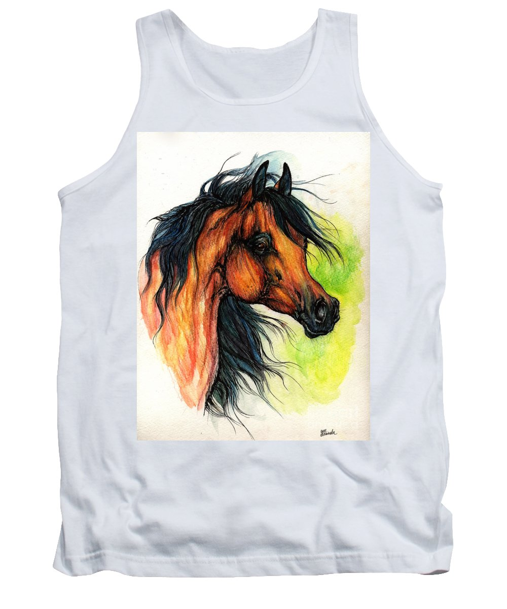 Horse Tank Top featuring the painting The Bay Arabian Horse 11 by Angel Ciesniarska