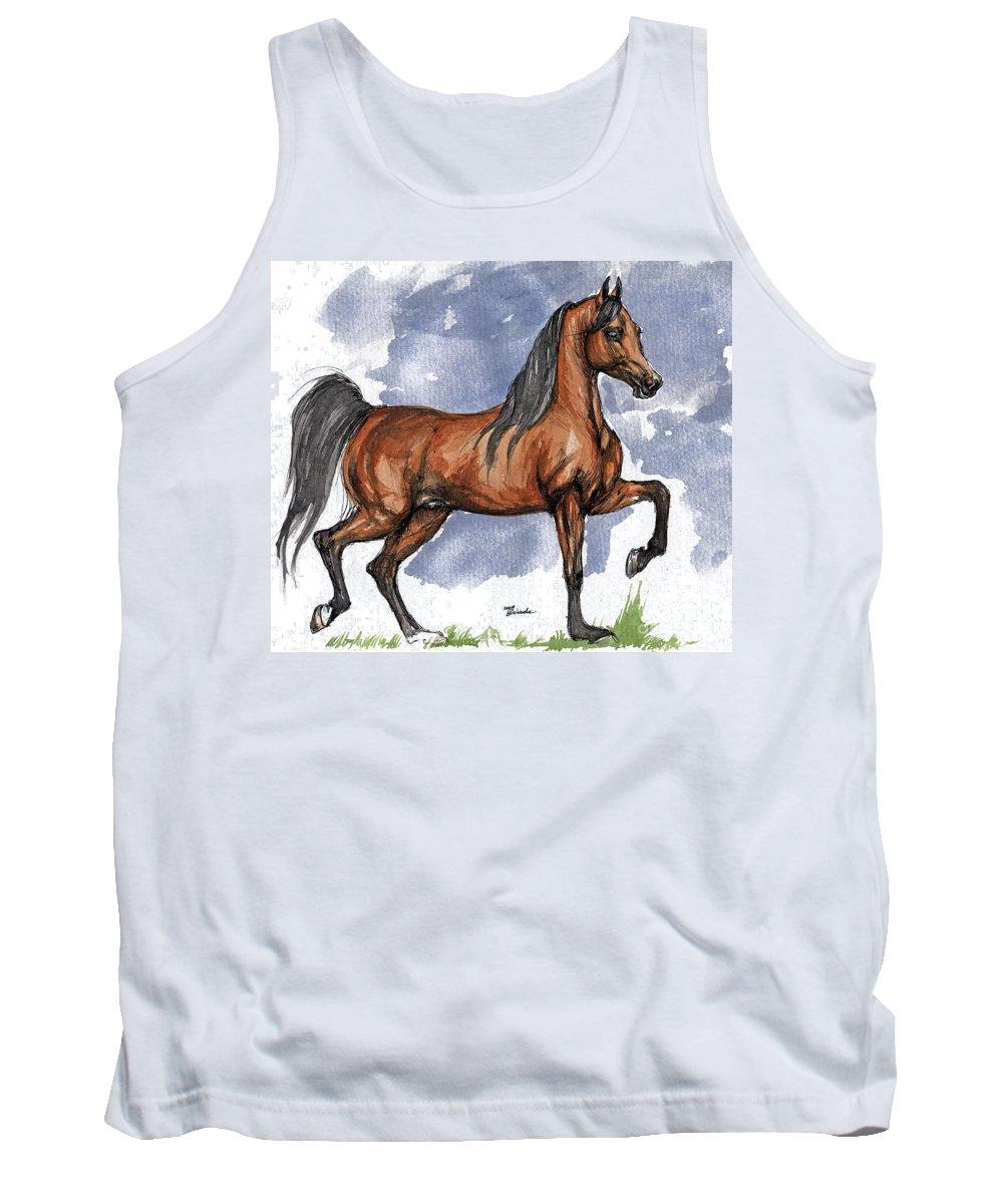 Bay Tank Top featuring the painting The Bay Arabian Horse 17 by Angel Ciesniarska