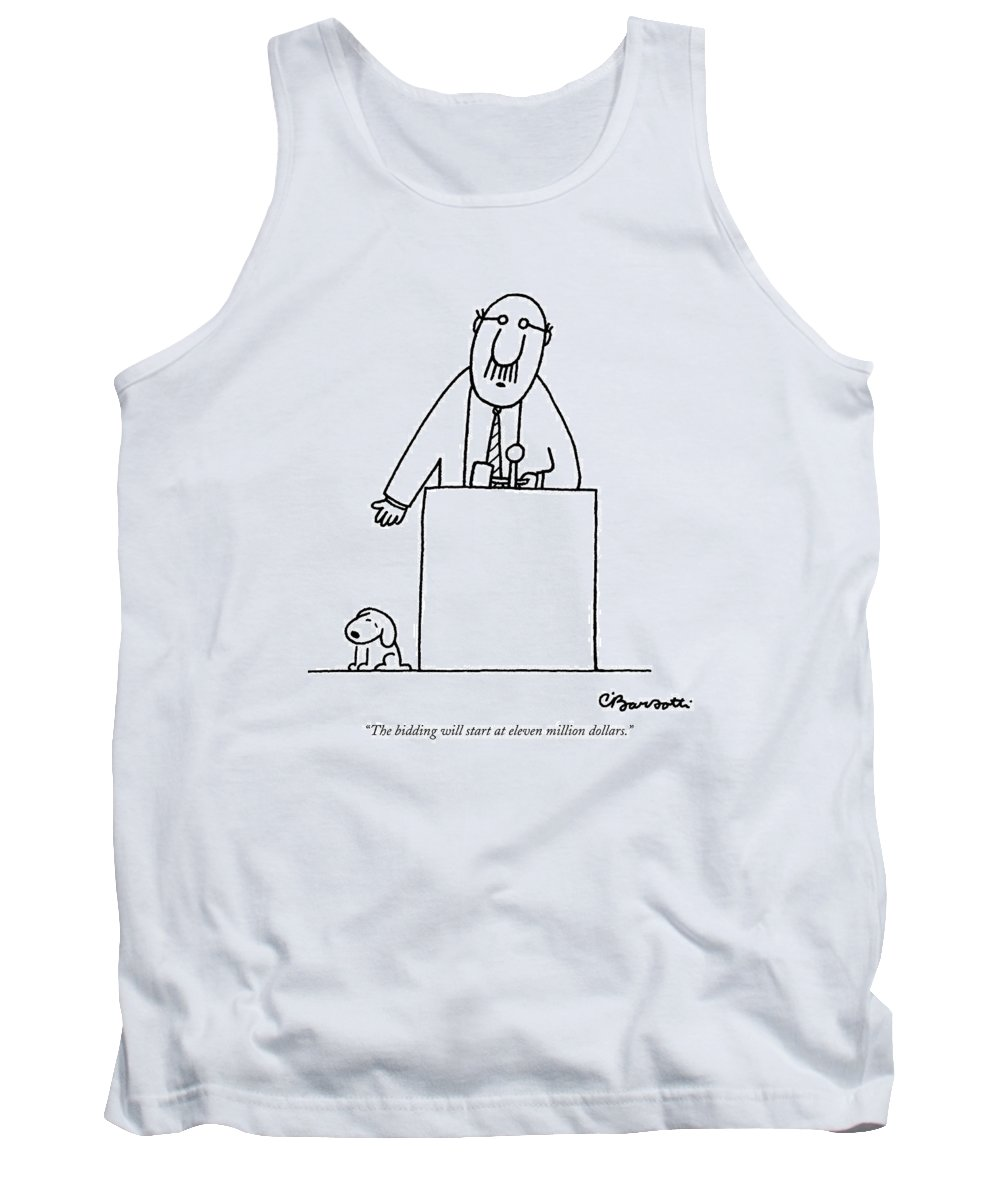 Auctioneer Tank Top featuring the drawing The Bidding Will Start At Eleven Million Dollars by Charles Barsotti