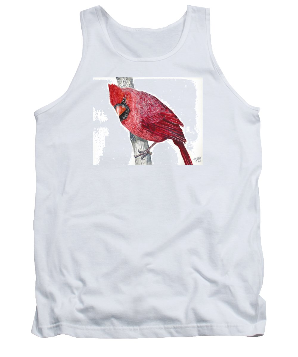 Wildlife Tank Top featuring the painting The Cardinal by Toni Willey