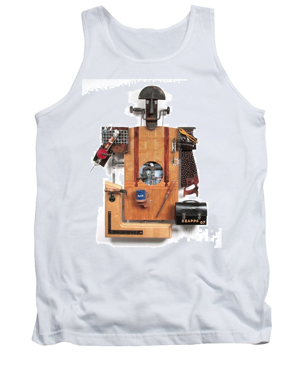 Czappa Tank Top featuring the sculpture The Carpenter  #16 by Bill Czappa