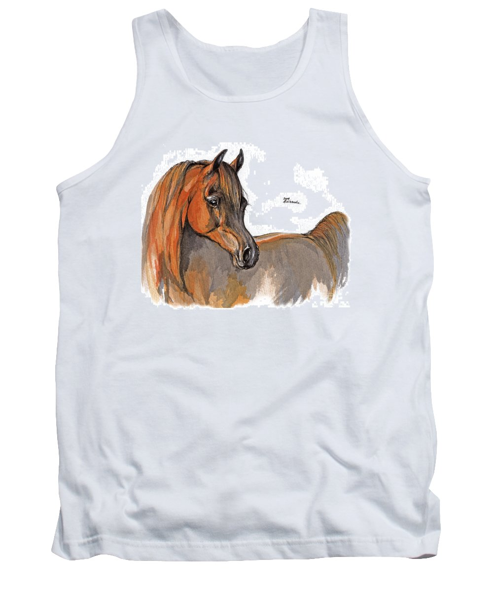 Chestnut Horse Tank Top featuring the painting The Chestnut Arabian Horse 2a by Angel Ciesniarska