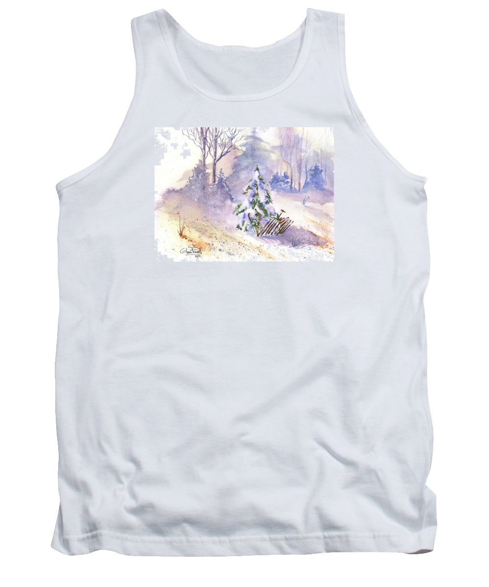 Landscape Tank Top featuring the painting The Christmas Tree by Glenn Farrell