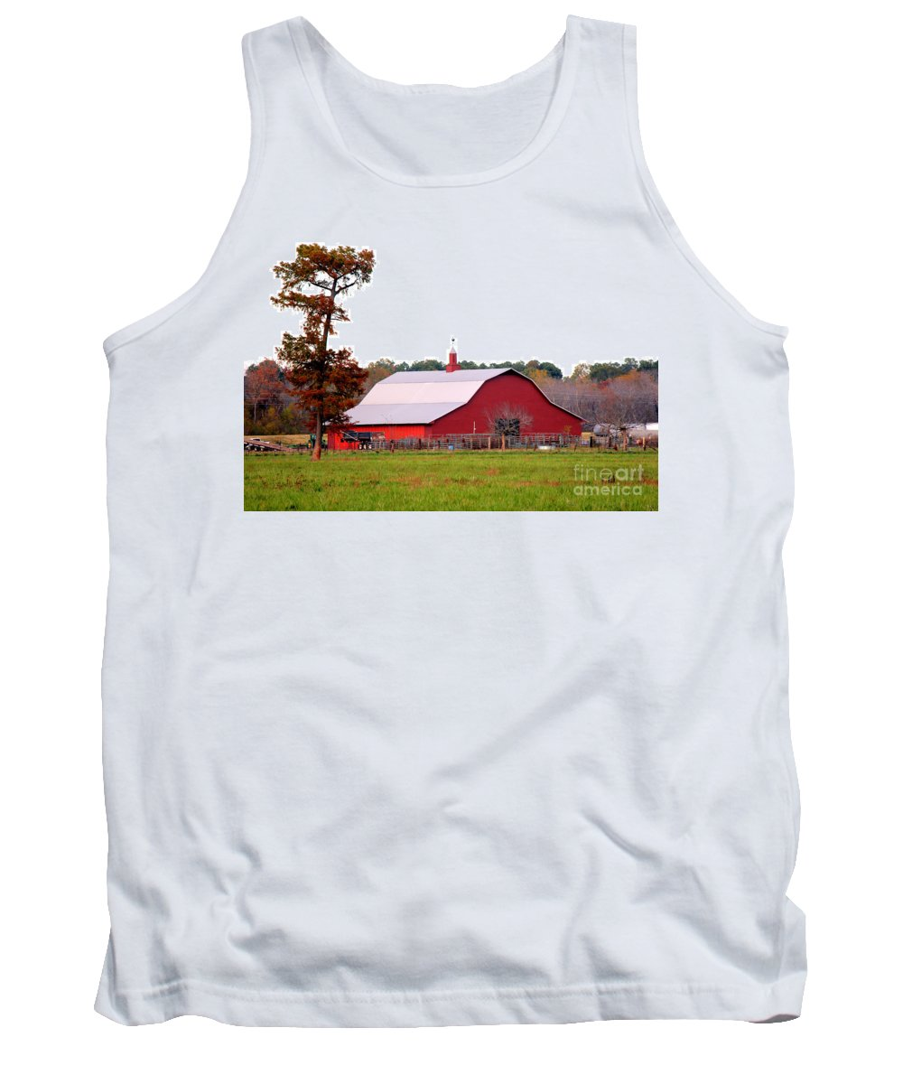 Country Red Barn Tank Top featuring the photograph The Country Red Barn by Kathy White