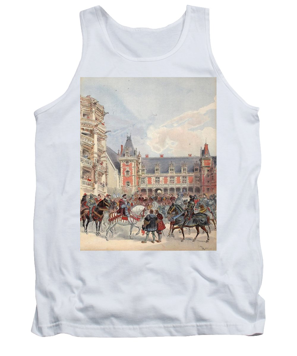 France Tank Top featuring the drawing The Court In Chateaus Of The Loire by Albert Robida