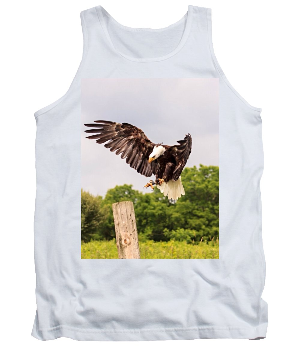 Bald Eagle Tank Top featuring the photograph The Eagle Is Landing by Jim Koniar