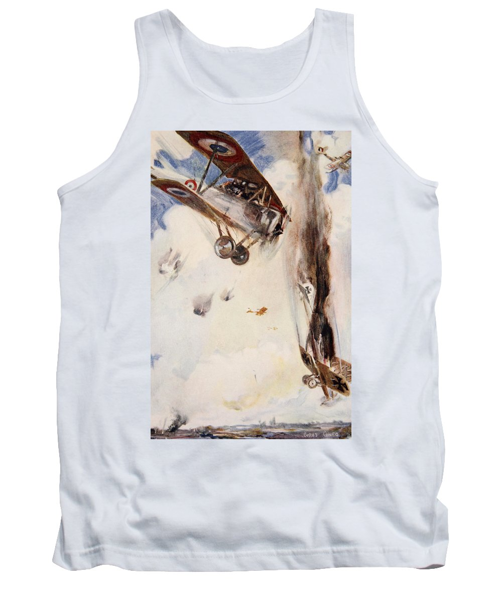 World War I Tank Top featuring the drawing The Enemy Crashed To The Earth by Cyrus Cuneo