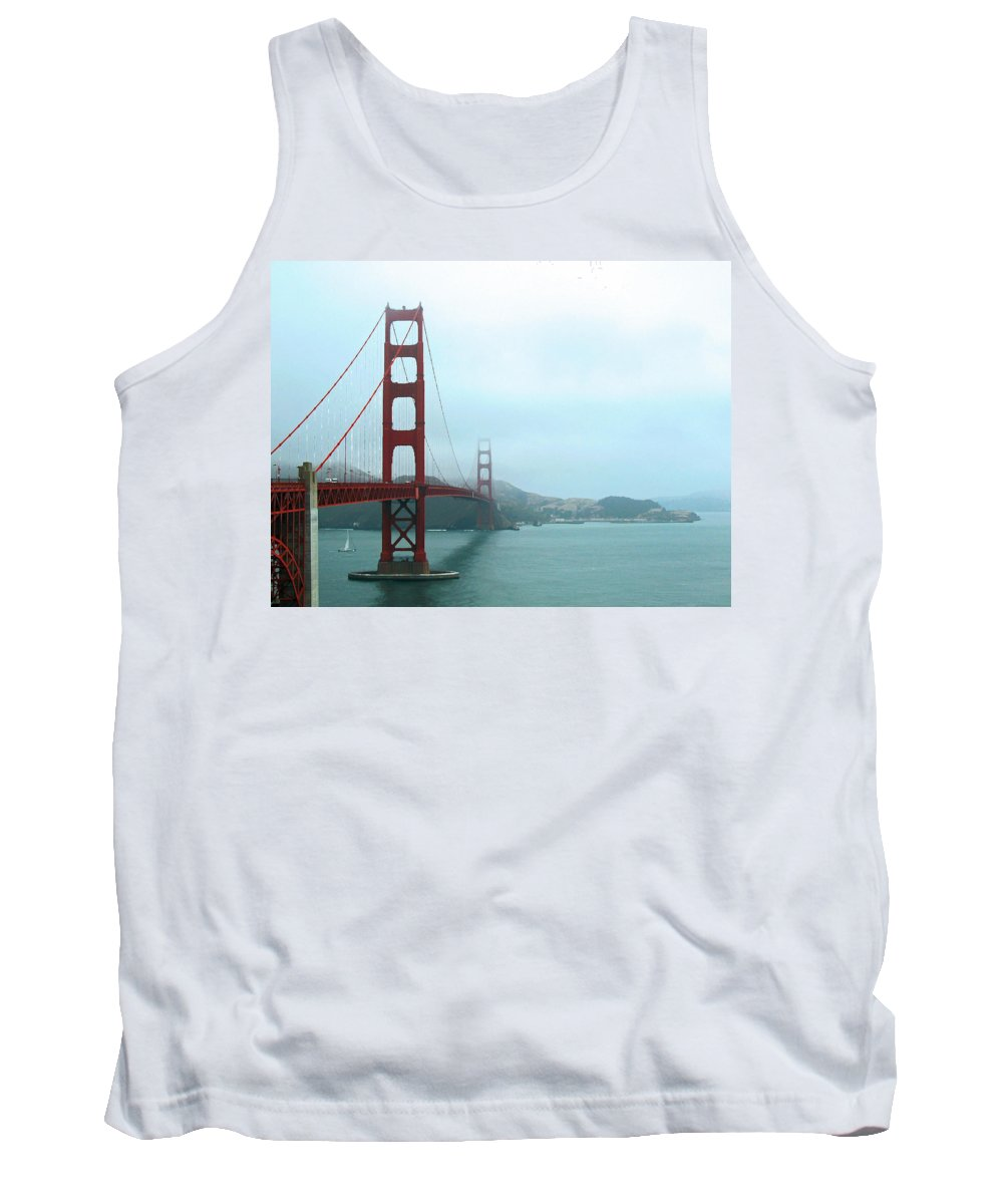 Landmark Tank Top featuring the photograph The Golden Gate Bridge And San Francisco Bay by Connie Fox