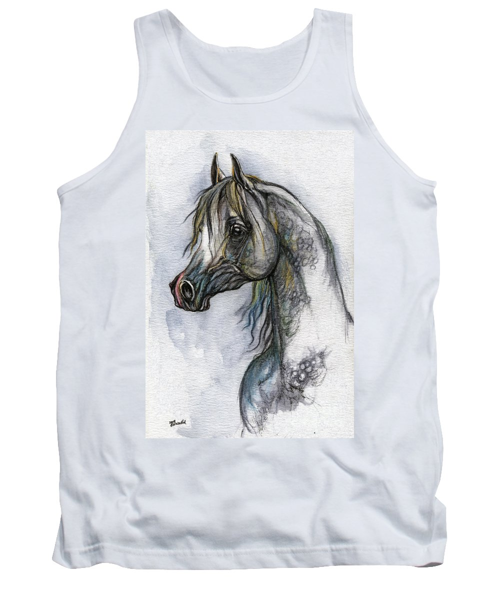 Watercolor Tank Top featuring the painting The Grey Arabian Horse 10 by Angel Ciesniarska