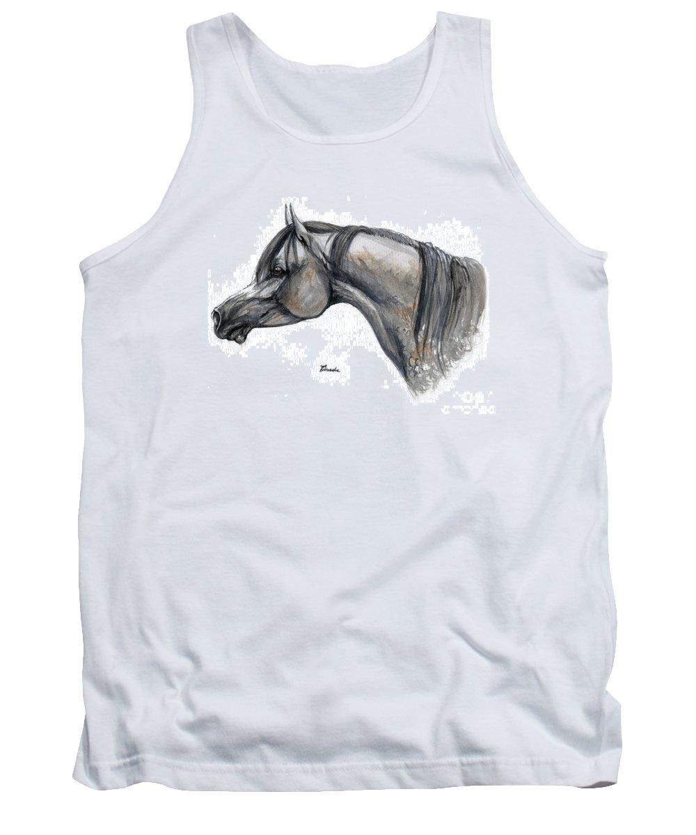 Horse Tank Top featuring the painting The Grey Arabian Horse 11 by Angel Ciesniarska