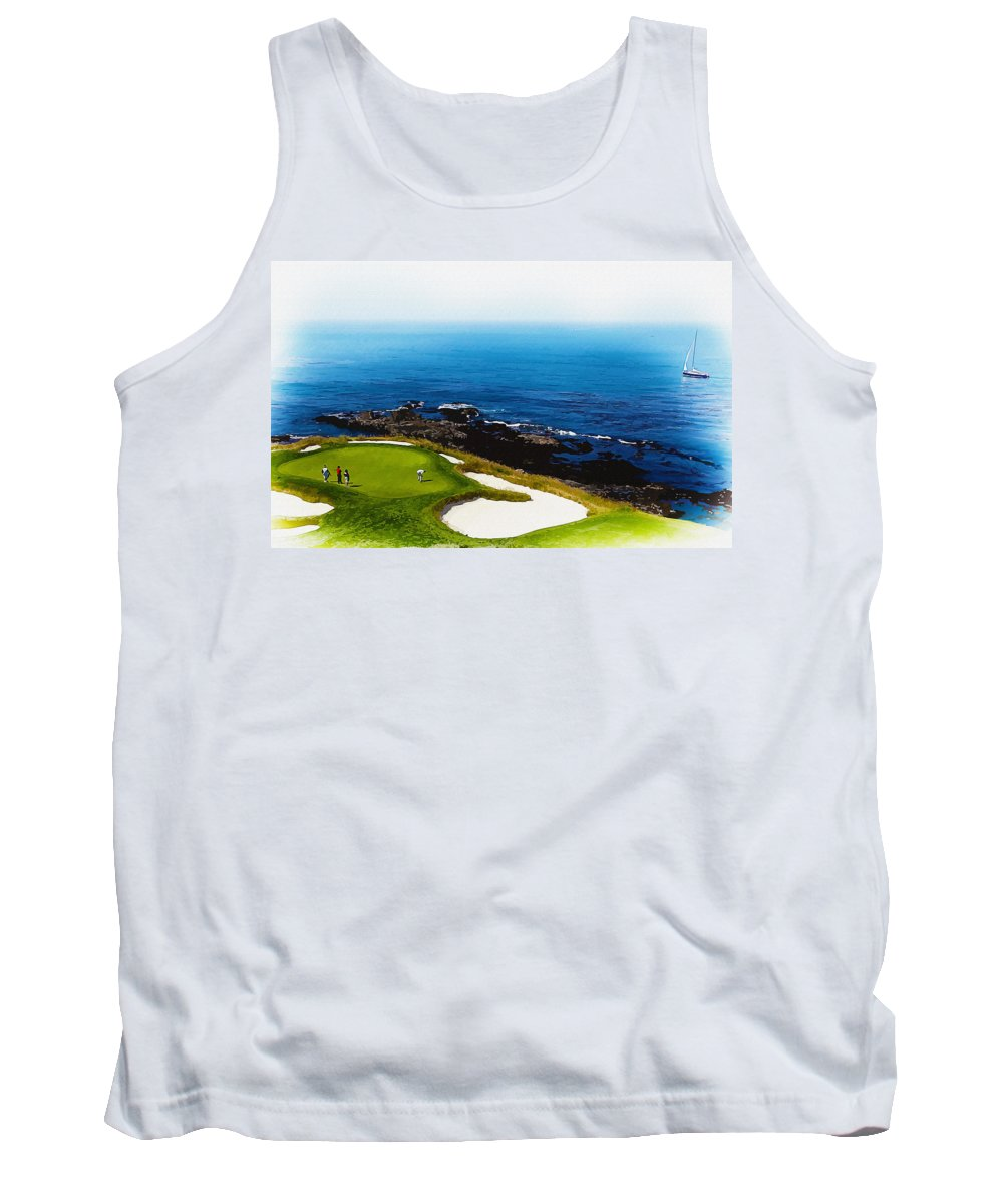 Canada Tank Top featuring the digital art The Hole 7 At Pebble Beach Golf Links by Don Kuing