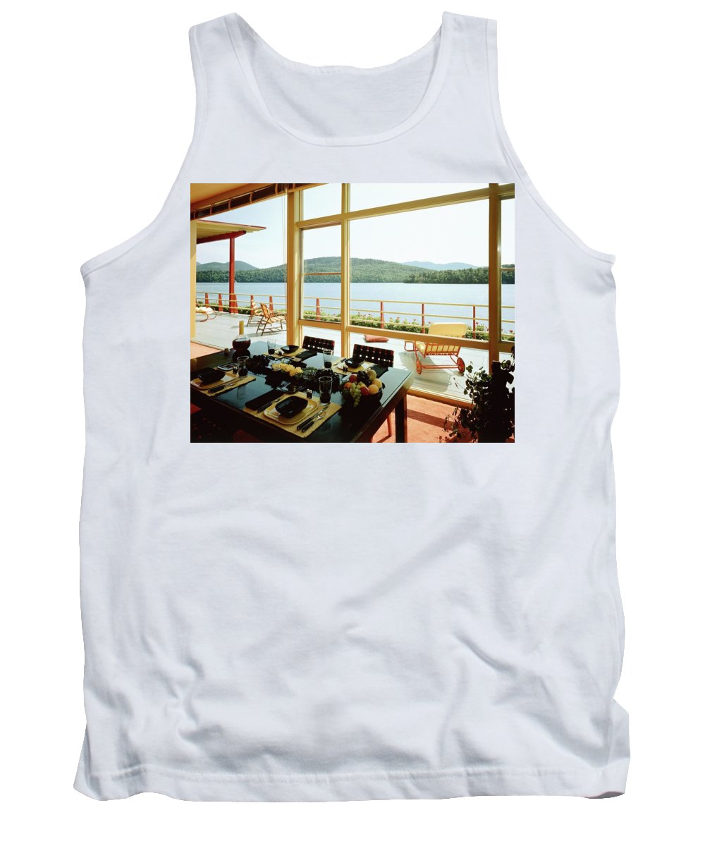 Indoors Tank Top featuring the photograph The House Of Mr. And Mrs. Alfred Rose On Lake by Robert M. Damora