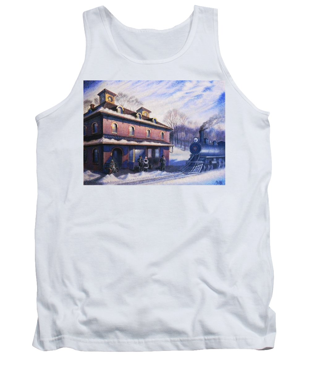 Railroad Tank Top featuring the painting The Last Station by Raffi Jacobian