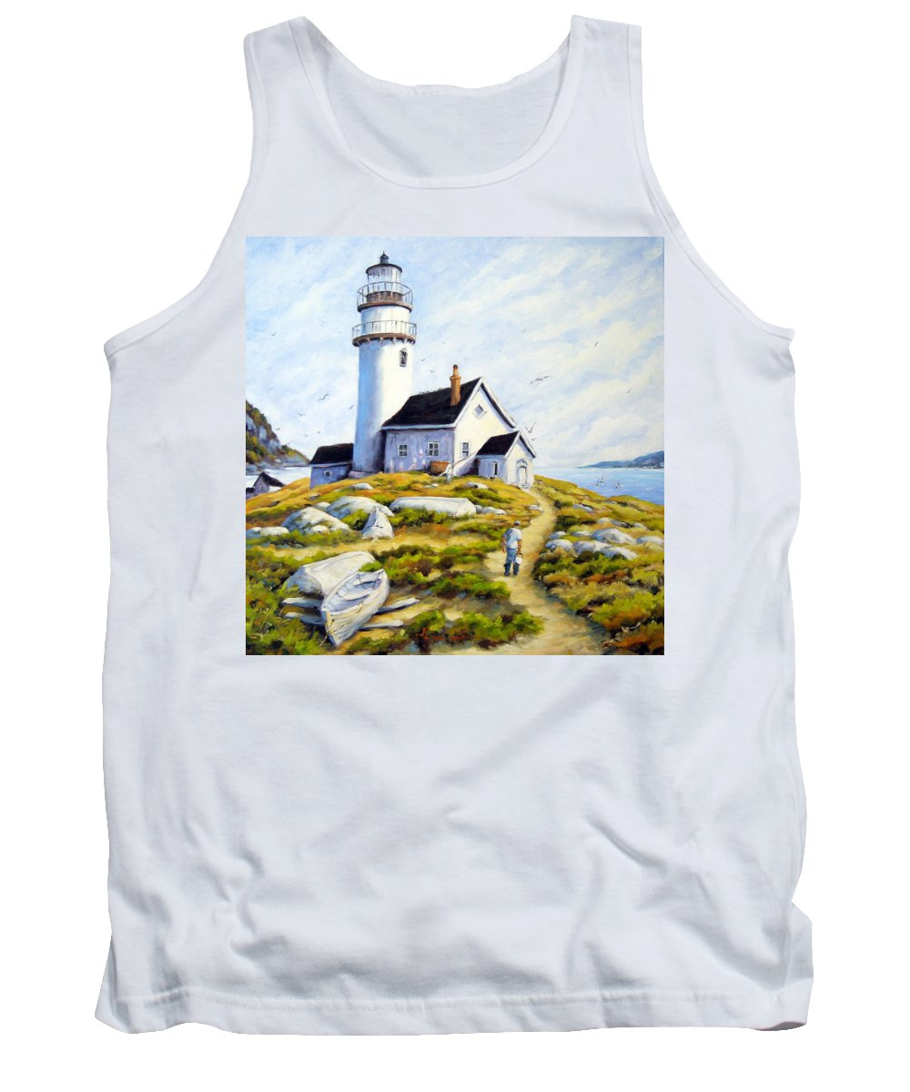 Fishing Boats; Fishermen; Bot Tank Top featuring the painting The Lighthouse Keeper by Richard T Pranke