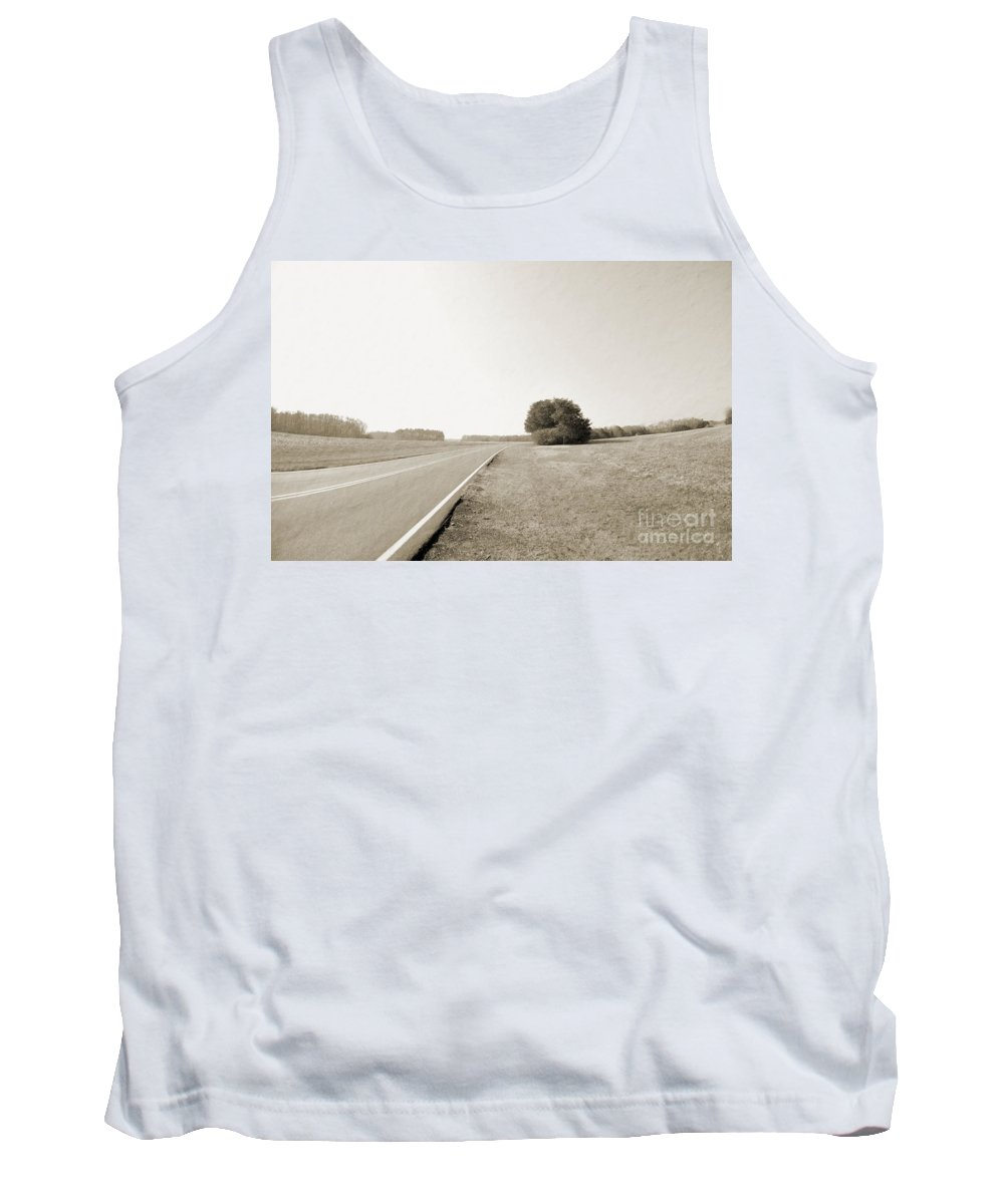Long Tank Top featuring the photograph The Lonely Road by Liz Masoner