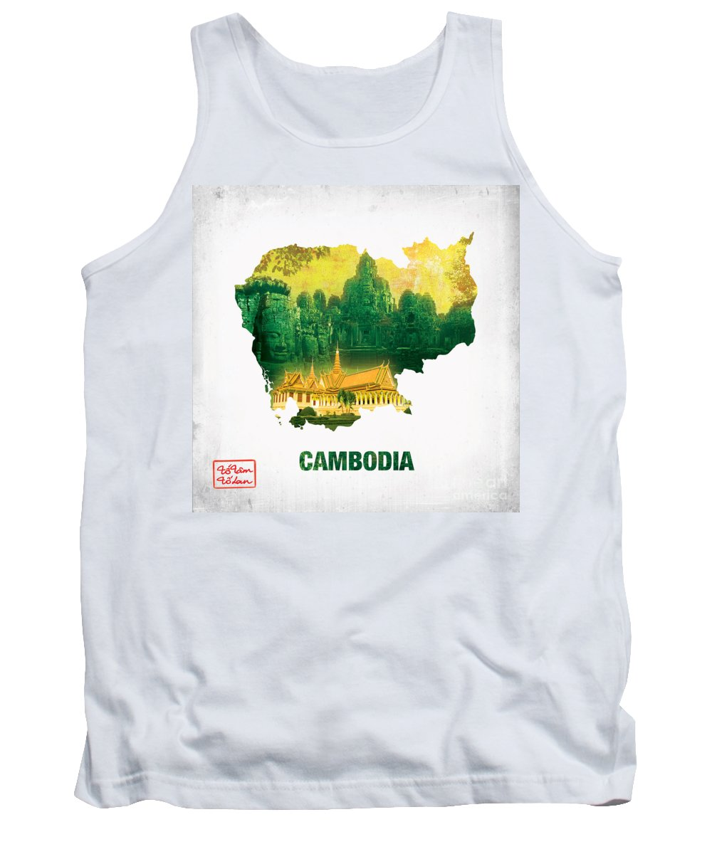 Map Tank Top featuring the digital art The Map Of Cambodia 2 by To-Tam Gerwe