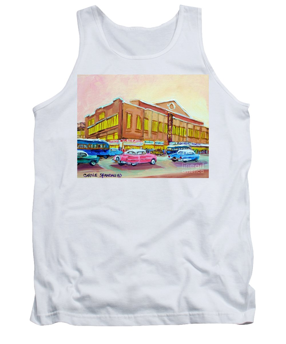 Montreal Tank Top featuring the painting The Montreal Forum by Carole Spandau