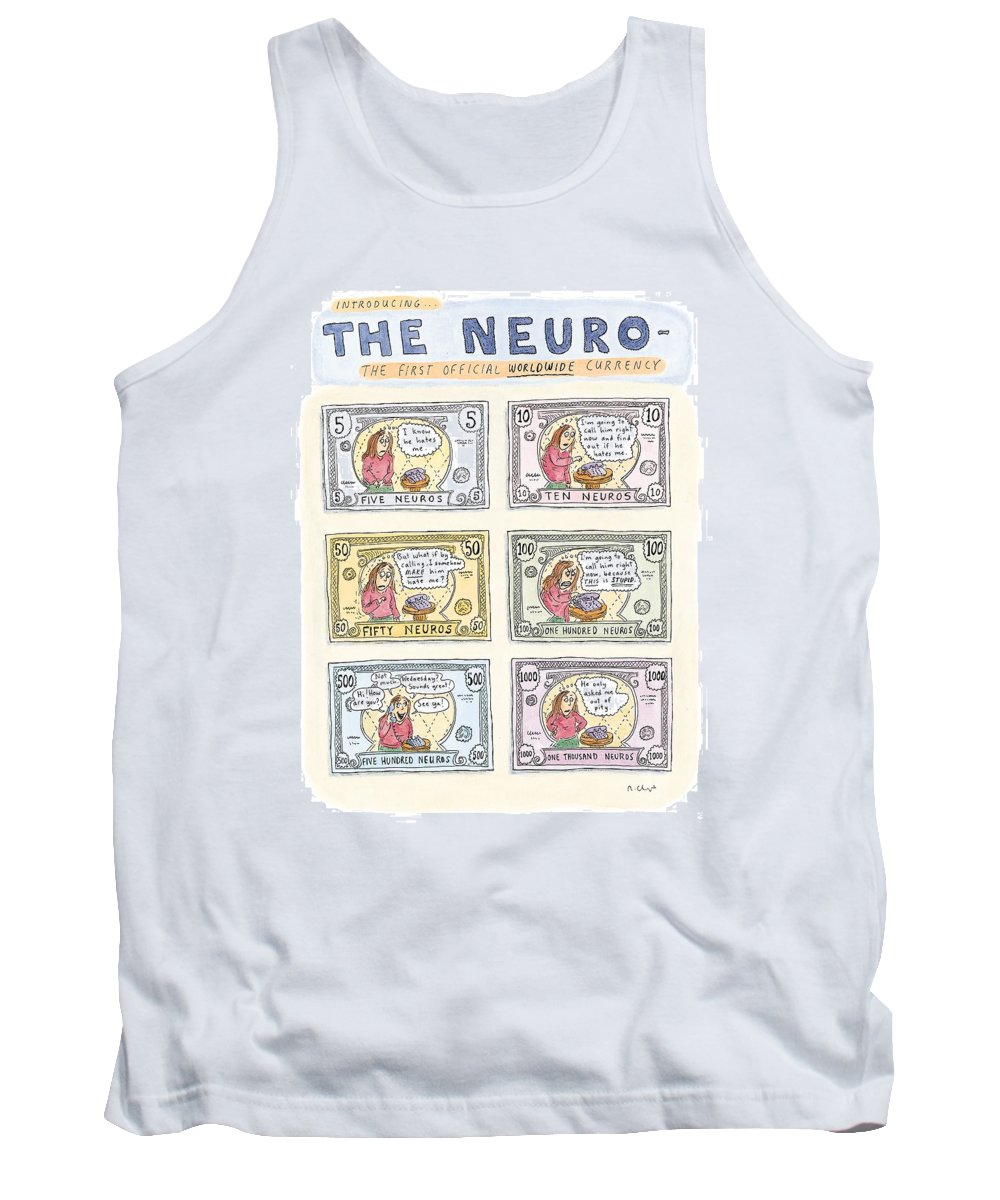 Euro Tank Top featuring the drawing The Neuro -  The First Official Worldwide by Roz Chast