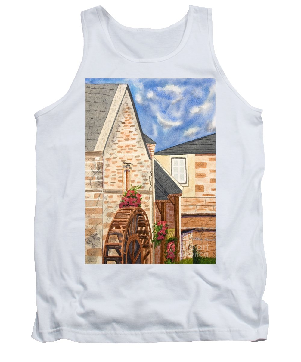 Art Tank Top featuring the painting The Old French Mill Watercolor Art Prints by Valerie Garner