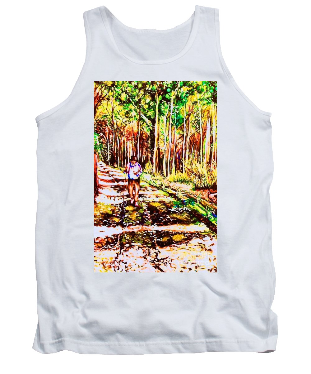 The Road Not Taken Robert Frost Poem Tank Top featuring the painting The Road Not Taken by Carole Spandau