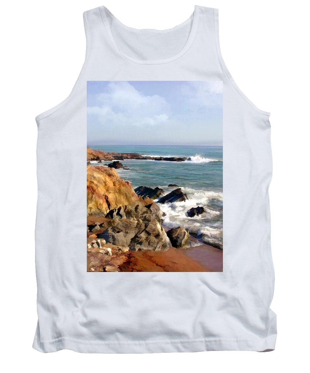California Tank Top featuring the painting The Rocky Coastline Meets The Ocean by Elaine Plesser
