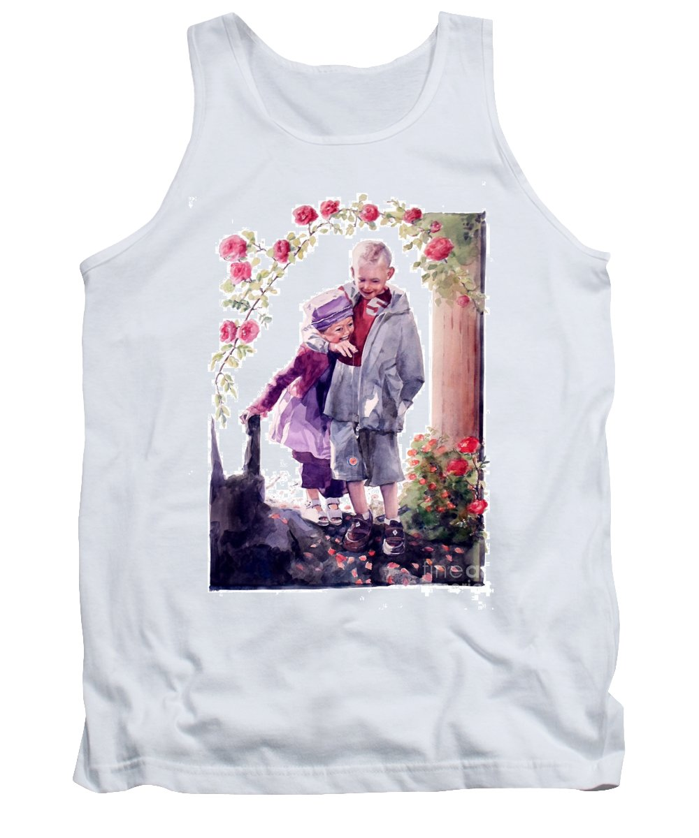 Watercolor Tank Top featuring the painting Watercolor Of A Boy And Girl In Their Secret Garden by Greta Corens
